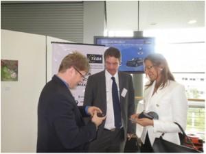 Left to right: JoergLaatsch , VP Powertrain ASEAN – Continental; Uli Kaiser President – Thai European Business Association; Vanessa Moriel, MD Asia – LIASE Group, talking at the IZB International Suppliers Fair.