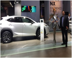 Wolfgang Doell, President and Managing Director of LIASE, admiring the new Lexus NX 300