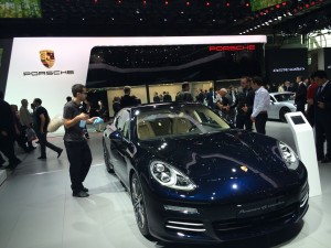 Paris reinforced the idea that carmakers are increasingly embracing green technology with a number of high-end sport/luxury hybrid and electric cars were either launched or on display at the show. Porsche displayed the Panamera S E-Hybrid and launched a hybrid version of its Cayenne model at the 2014 Paris Motor Show. Here shown is the Porsche Panamera 4S Executive.