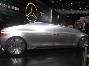Designed from the ground up for autonomous driving, the Mercedes-Benz F 015 concept car actually made its debut at the Consumer Electronics Show in Las Vegas a week before coming to Detroit. With no need to have a driver behind the wheel, the car includes seats that face each other to allow for passenger interaction and a touch screen giving passengers control of the vehicle.
