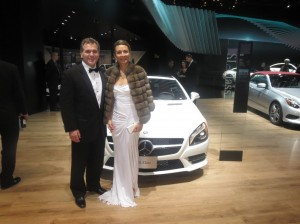 LIASE Board Member and HCP's Asia MD Vanessa Moriel and LIASE Group MD Americas and Board Member John Bukowicz pose in front of the Mercedes-Benz SL-Class on the evening of the Black Tie Gala. Mercedes unveiled its new GLE model in Detroit. It is expected to compete with BMW's X6 mid-sized SUV once production is ramped-up.
