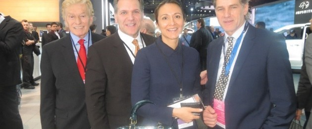 Left to right: LIASE Non-Executive Board Member Vic Doolan; Vanessa Moriel; John Bukowicz; and Automobilewoche & Automotive News Director Thomas Heringer, standing in front of the Infiniti booth. Infiniti unveiled the new Infiniti Q60 with a bold design that is bound to rejuvenate the luxury automaker's lineup once it comes into production in 2016.