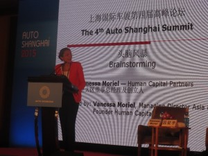 LIASE Group Managing Director Asia Vanessa Moriel introducing the opening roundtable and CEO Keynote Speeches on the topic of How to Respond to Opportunities & Challenges Brought by Intelligent Connected Cars at the 4th Auto Shanghai Summit 2015.