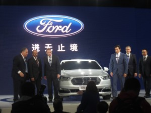 Left to right : Changan Ford President Marin Burela; Ford Motors Group Vice President and Chief Technical Officer, Global Product Development Raj Nair; Ford Motor Company Executive Chairman Bill Ford; Ford Motor Company President and Chief Executive Officer Mark Fields; Ford China Chairman and CEO John Lawler; and, Changan Ford Executive Vice President He Chaobing.