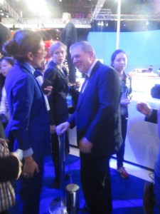 LIASE's MD Asia Vanessa Moriel (left) talking with Ford Motor President Asia Pacific David Schoch (Right) following the Ford Motors press conference at the 2015 Shanghai Auto Show.