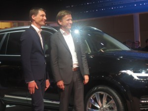 Volvo Senior Vice President, Design, Thomas Ingenlath (left) and Volvo Cars Corporation AB Chairman of the Executive Board Håkan Samuelsson (right) in front of the XC 90.