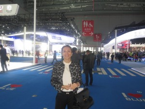 LIASE's Vanessa Moriel standing in the new exhibition hall of the Shanghai auto show.