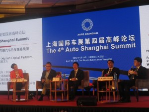 """From right to left: Harman International Executive Vice-President and CTO, Mr. I.P. Park; Bosch (China) Investment Ltd., Executive Vice President Dr. Xu Daquan; Dongfeng Motor Corporation Deputy Manager of the Strategy and Planning Department Mr. Wang Binbin; LeShi """"Supercar"""" Company Vice President Lü Zhengyu; and, LIASE Board Member and Asia MD Vanessa Moriel."""