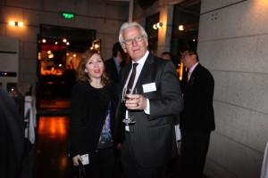 RAI Industry Platform, Chairman of the Board, Eddy van der Vorst standing wth European Association of Automotive Suppliers, Deputy C.E.O, Amalia Di Stefano.