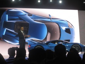 Ford Motors Group Vice President and Chief Technical Officer, Global Product Development Raj Nair presenting the new Ford GT Supercar to the Chinese audience. The Ford GT, which made its debut at the Detroit Auto Show in December, innovated with its light-weight, aerodynamics and efficient 600 horsepower EcoBoost engine.