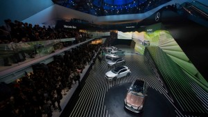 All five of Mercedes-Benz's new models are shown together at the Frankfurt Motor Show Mercedes Benz press conference.