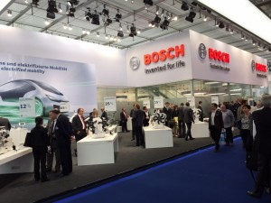 Bosch had an impressive presence at the Motor Show, rivaling some of the smaller OEMs. Amongst the many technologies it showcased was a second generation low-cost, 48-volt hybrid system with a smaller lithium-ion battery and less expensive components compared to existing systems. The system will assist combustion engines during acceleration, is capable of regenerative braking, and provides a 15-percent fuel economy improvement. The new model shown in Frankfurt had a transmission-integrated electric motor capable of powering a remote-controlled automatic parking system.