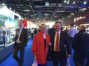 LIASE Group Managing Director Asia Vanessa Moriel (left) and LIASE Group President and Managing Director Europe Wolfgang Doell (right) pose for a picture during the Frankfurt Motor Show.