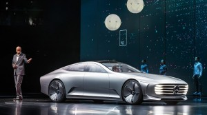 Benz AG CEO Dieter Zetsche unveiled the futuristic looking Concept IAA in front of a massive crowd at the Frankfurt Motor Show.