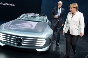 German Chancellor Angela Merkel examining Mercedes-Benz's new Concept car in Frankfurt.