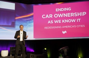 Lyft Inc., co-founder and president, John Zimmer, speaking during the Connected Car Expo at the Los Angeles Auto Show on Nov. 17, 2015.