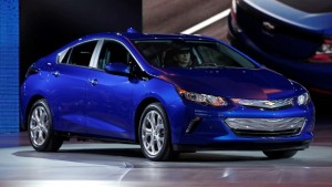 """The second-generation Chevy Volt, a plug-in hybrid was named """"Green Car of the Year,"""" edging out the Audi A3 E-Tron, the new Toyota Prius, the Hyundai Sonata and the Honda Civic. The Chevy Volt was apparently chosen for its fuel economy and range. The Volt can go 53 miles range on electric power alone and 420 miles on gas and battery power."""