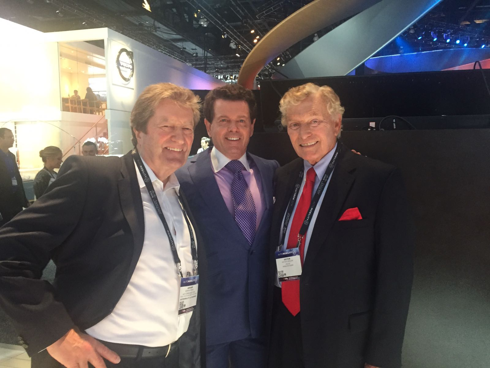 LIASE Group Non-Executive Board Member, Vic H. Doolan (right), poses for a picture with Gerry McGovern, Land Rover Chief Design Officer (center).