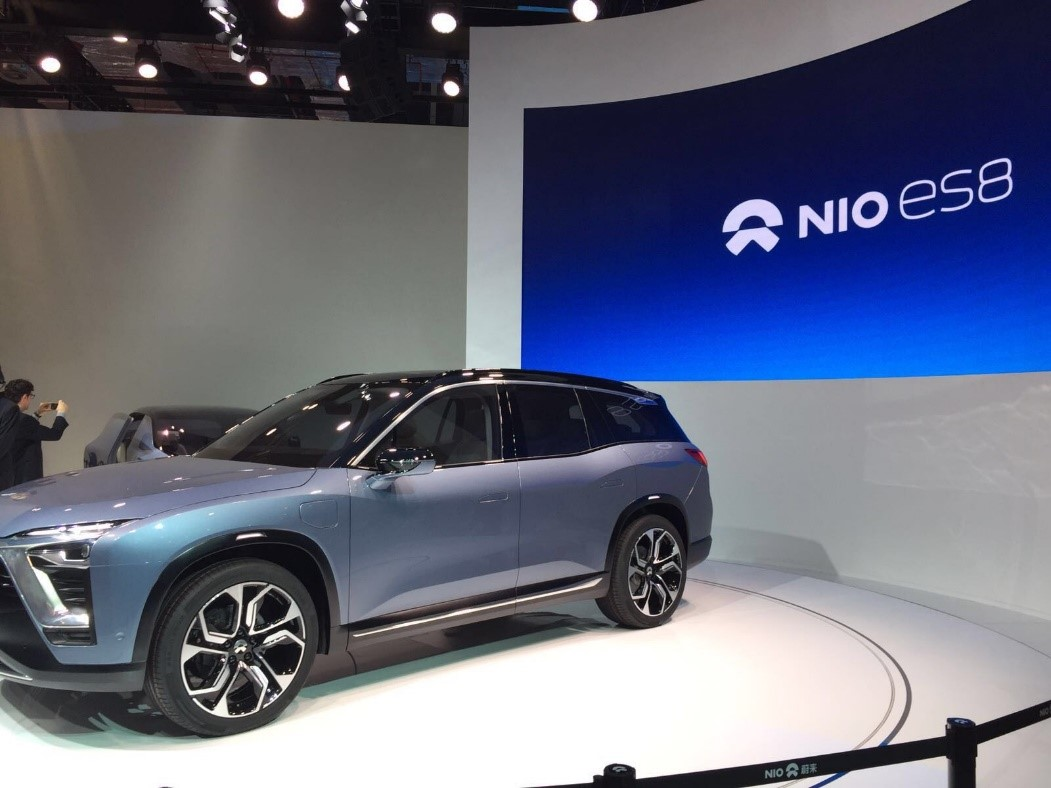 NIO showed off the ES8 full electric SUV concept at the Shanghai Auto Show.