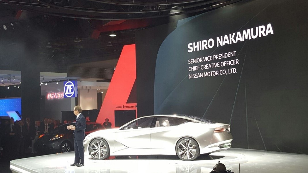 Nissan Chief Creative Officer Shiro Nakamura introduced the Nissan Vmotion 2.0 concept vehicle at the 2017 North American International Auto Show.