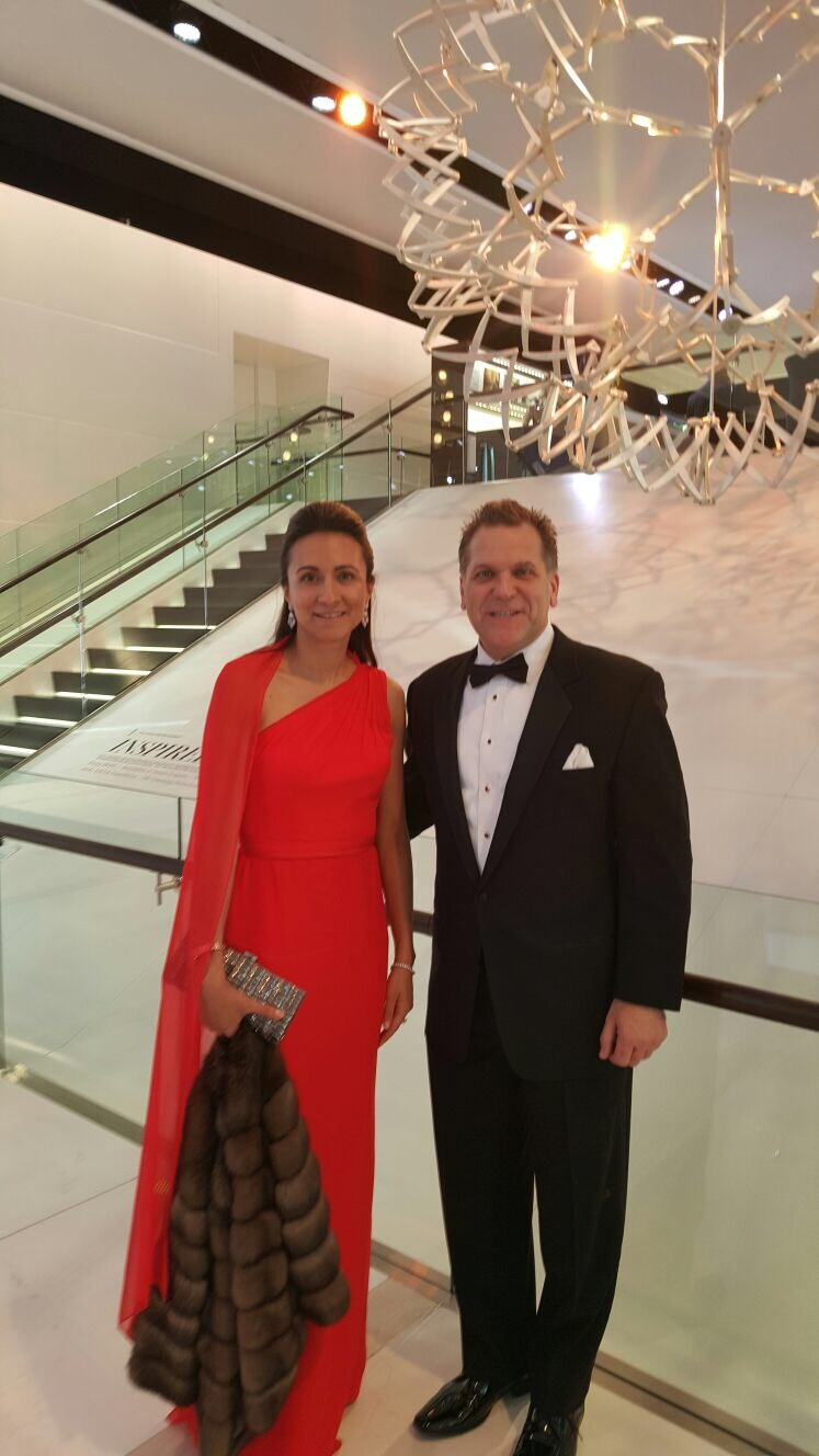 John Bukowicz and Vanessa Moriel pose for a picture at the Detroit Auto Show charity gala.