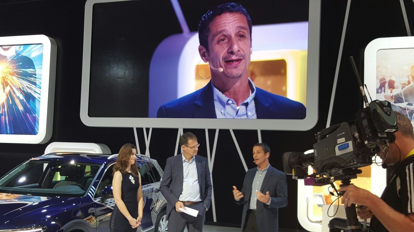 John Scumniotales, General Manager, Alexa Automotive Domains at Amazon speaks during the Volkswagen press conference at CES 2017. Volkswagen announced it would be integrating Alexa, Amazon's voice controlled virtual assistant, into its cars.