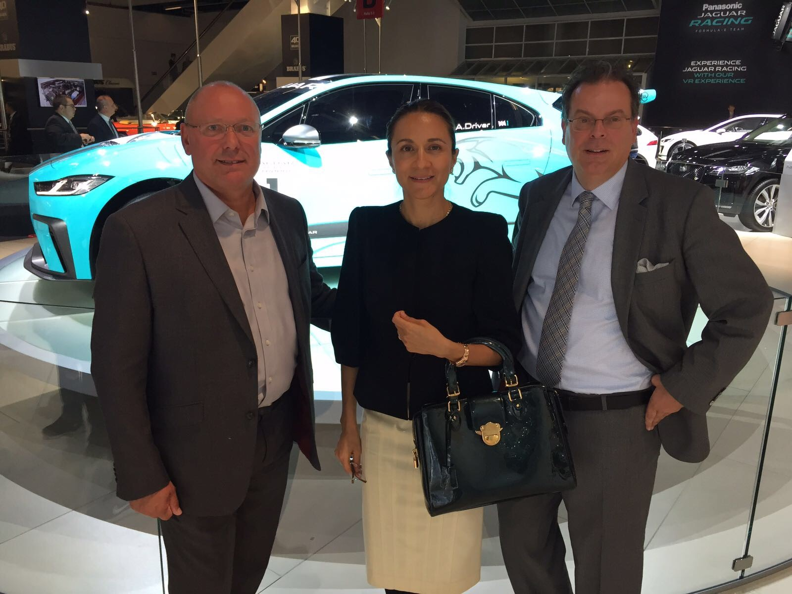 From left to right: The LIASE Group's Adam Pumfrey, Managing Director U.K.; Vanessa Moriel, Managing Director Asia; and Wolfgang Doell, President and Managing Director Europe at the Jaguar Booth.