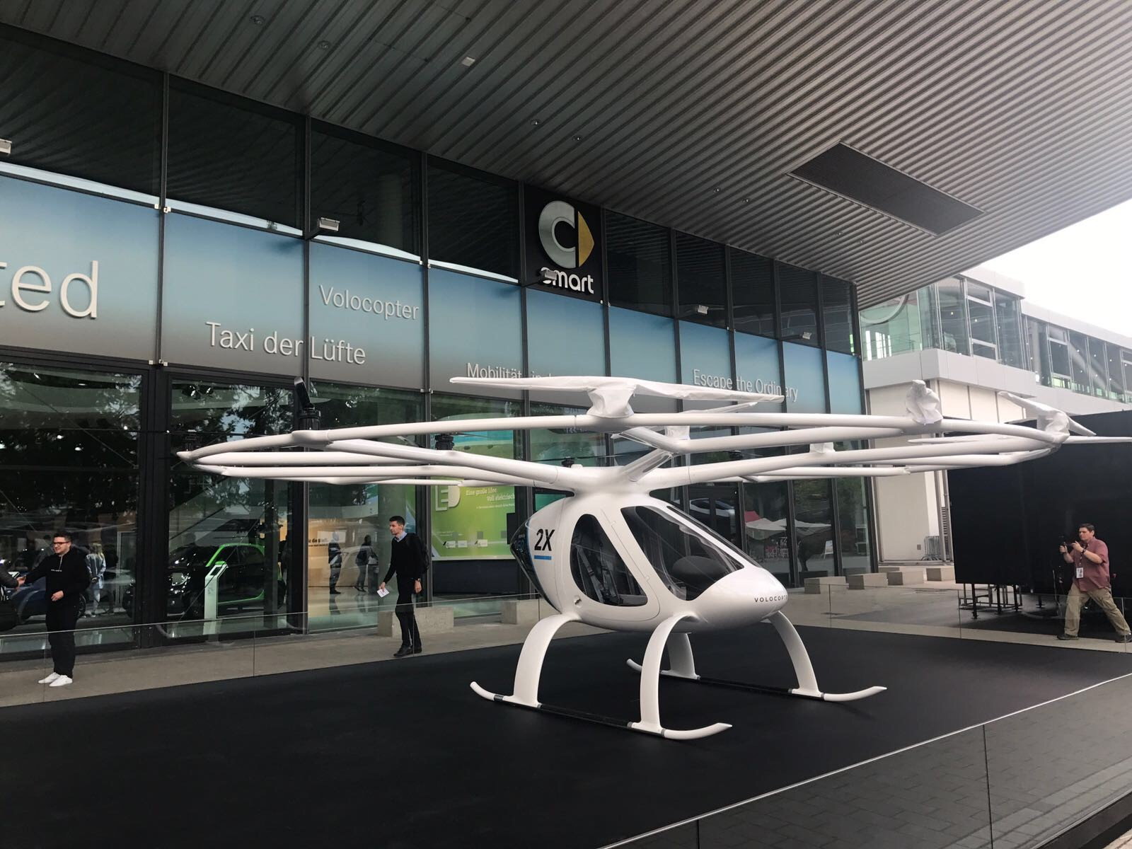 The Volocopter was on display in Frankfurt. Daimler has invested millions into the company and Dubai is reportedly interested in using them as flying taxis.