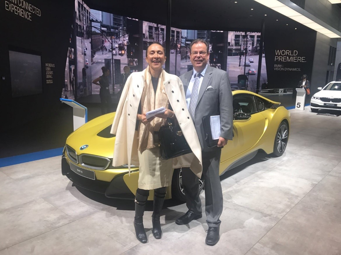 Vanessa Moriel, Managing Director Asia (left); and Wolfgang Doell, President and Managing Director Europe at the BMW booth.