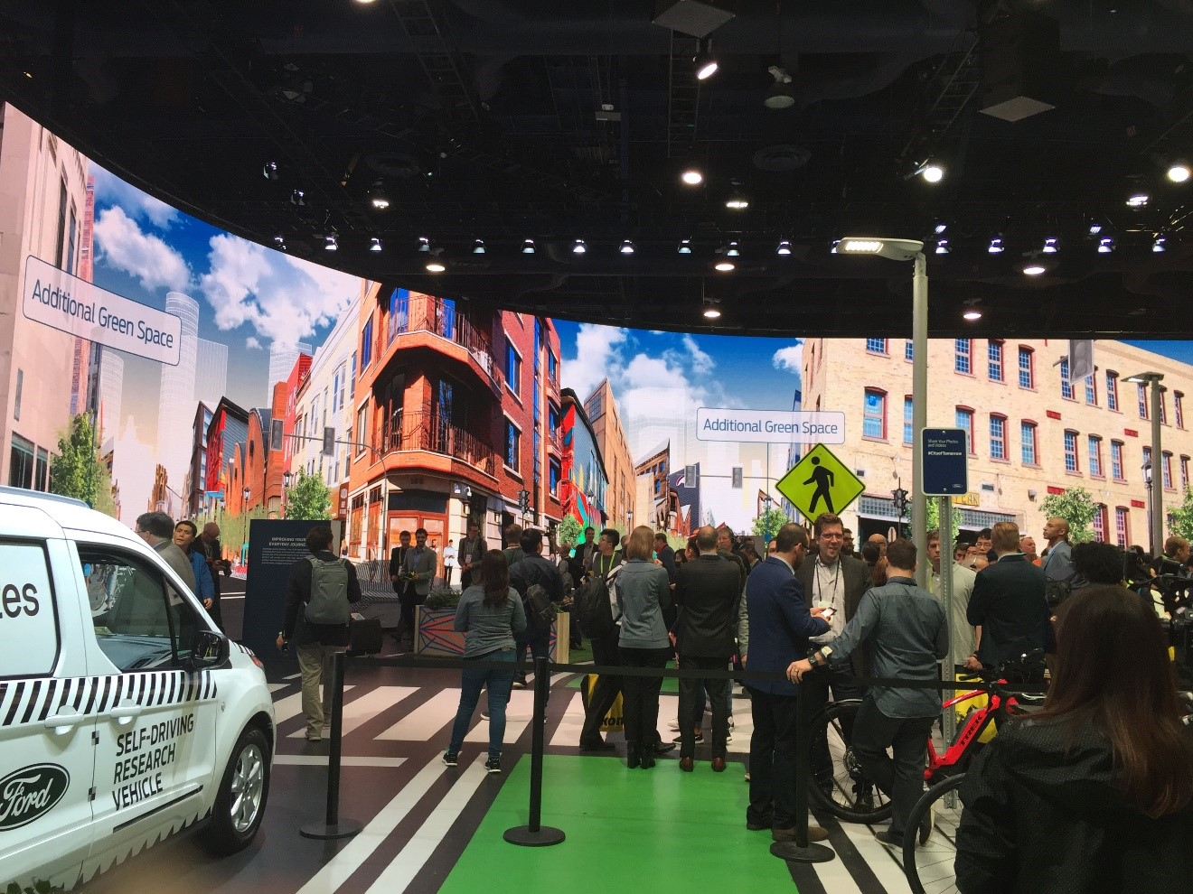 Ford built a small indoor street to showcase its vision of integrated mobility including cars, bikes, pedestrians and Ford self-driving vehicles. Integrated mobility was also the topic of Ford CEO Jim Hackett's keynote address. Hackett talked about shared transportation and smart cities to help with the development of autonomous driving and connectivity.