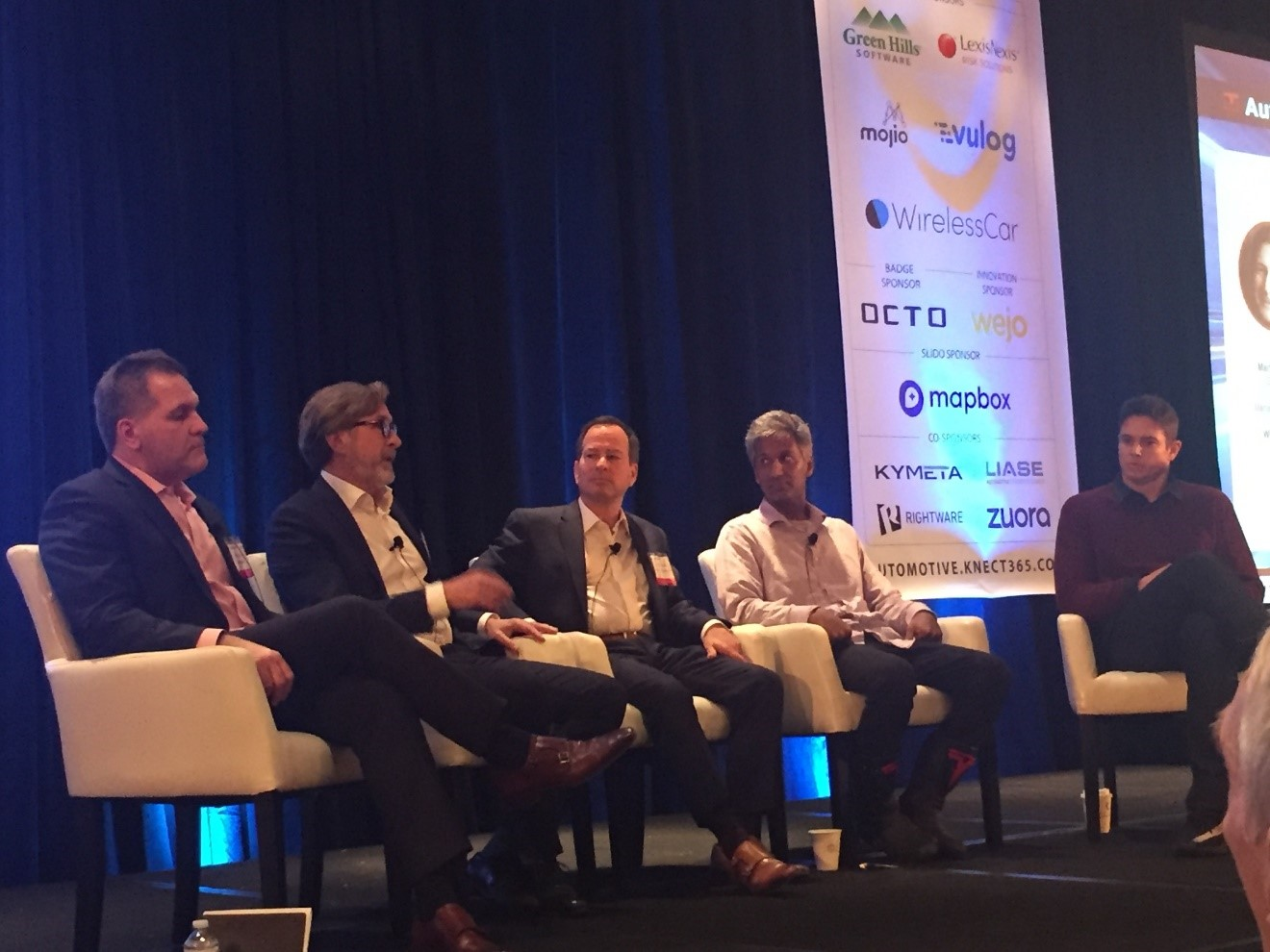 John Bukowicz, Managing Director Americas, LIASE Group speaking on a panel at the 2018 Consumer Telematics Show with Martin Rossell, Managing Director, WirelessCar; Rahul Sonnad, CEO & Co-Founder, Tesloop; Cletus Nunes, Director of Sales, Octo Telematics North America; Russ Lemmer, EVP of Mobility, Silvercar.