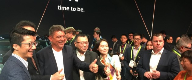 Dr. Carsten Breitfeld, CEO, Co-Founder and Chairman of the Board of Byton taking a picture with members of his team, including Ding Qingfen, Head of External Affairs, Public Relations and Government Affairs.