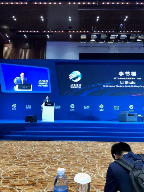Mr. Li Shufu speaking during the closing plenary session.