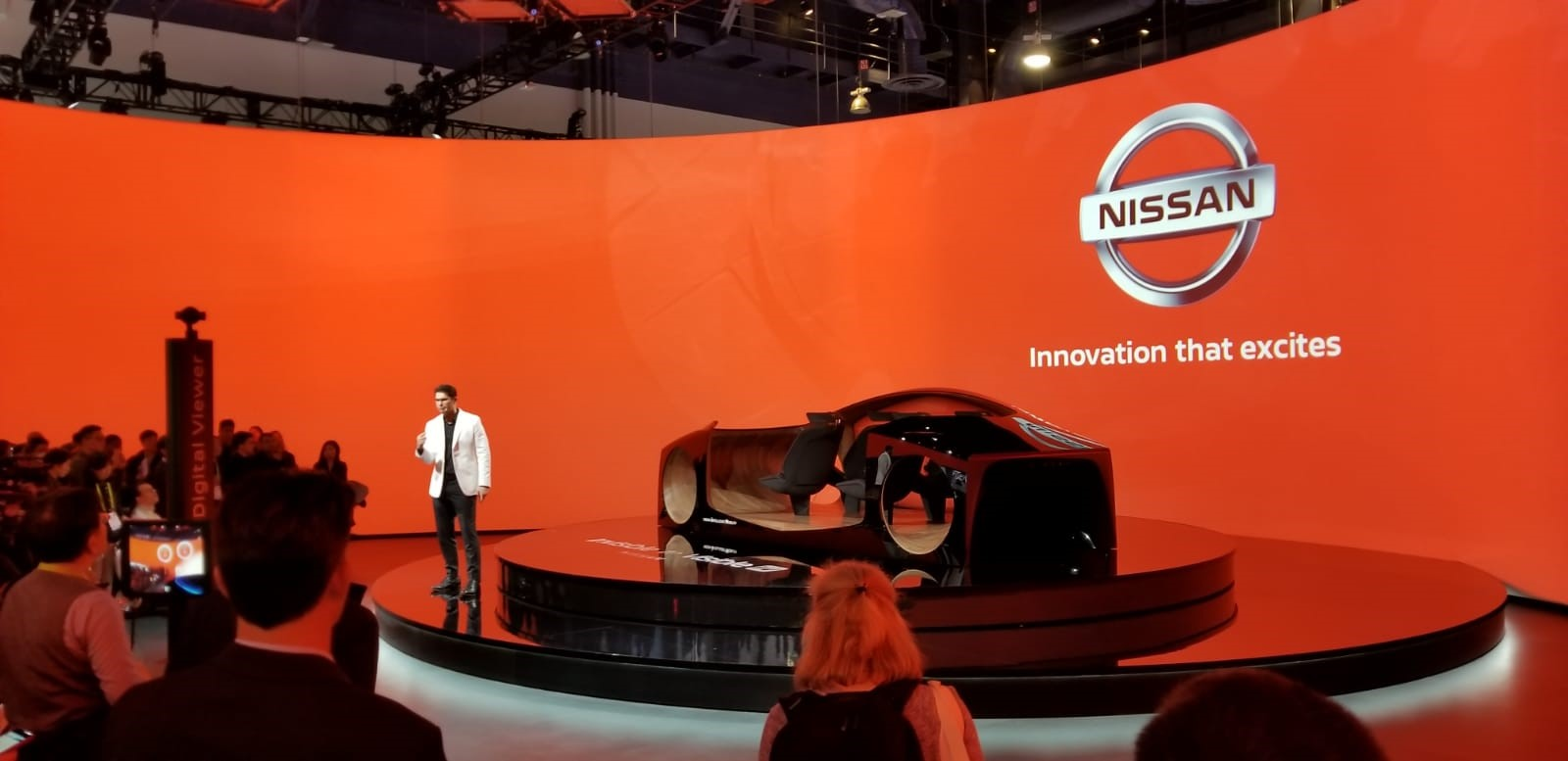 Nissan presented its new invisible-to-visible (I2v) technology at CES. I2V uses virtual reality and in-vehicle sensors to enhance a driver's awareness.